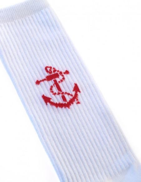 Calcetines Costaleros Blancos Ancla Roja