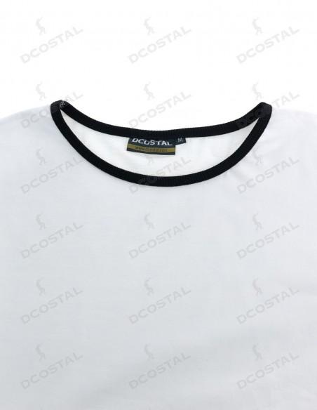 Camiseta Manga Corta Costalero Blanca Filo Negro Punto Liso