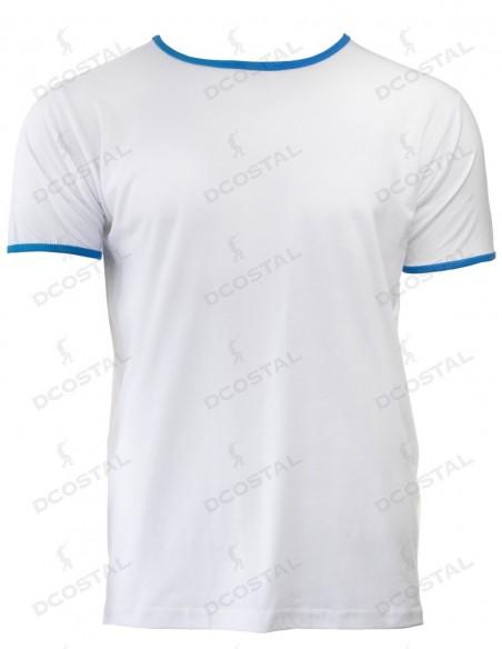 Camiseta Manga Corta Costalero Blanca Filo Azul Punto Liso