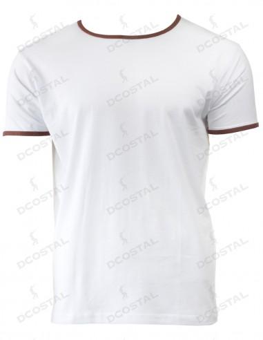 Camiseta Manga Corta Costalero Blanca Filo Marrón Punto Liso
