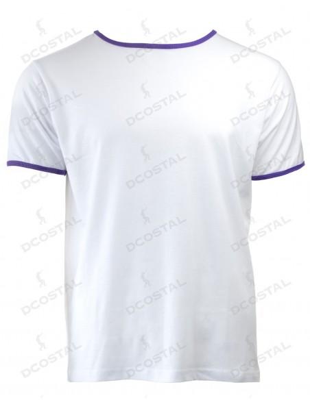 Camiseta Manga Corta Costalero Blanca Filo Morado Punto Liso