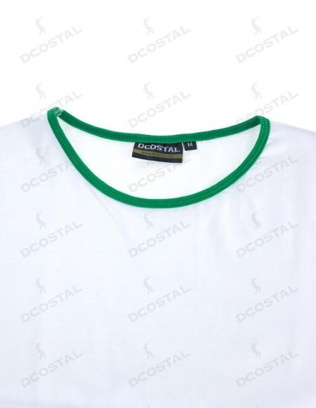 Camiseta Manga Corta Costalero Blanca Filo Verde Punto Liso