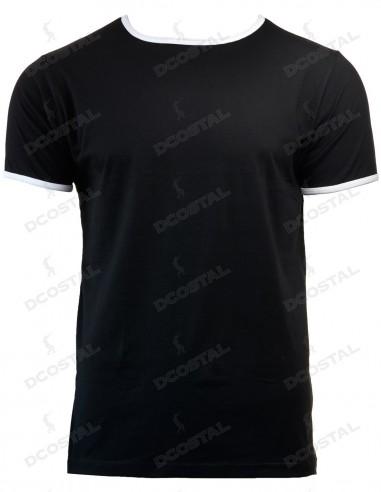 Camiseta Manga Corta Costalero Negra Filo Blanco Punto Liso