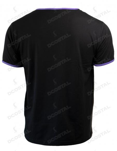 Camiseta Manga Corta Costalero Negra Filo Morado Punto Liso