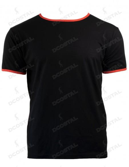 Camiseta Manga Corta Costalero Negra Filo Rojo Punto Liso