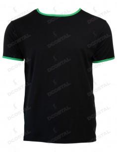 Camiseta Manga Corta Costalero Negra Filo Verde Punto Liso