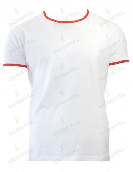 Camiseta Manga Corta Costalero Blanca Filo Rojo Punto Liso