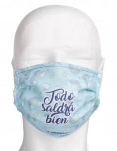 Mascarilla Higiénica Reutilizable Todo Saldrá Bien Arco Iris Azul