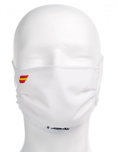 Mascarilla Higiénica Reutilizable Blanca Con Bandera España