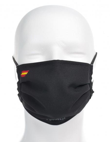 Mascarilla Higiénica Reutilizable Negra Con Bandera España