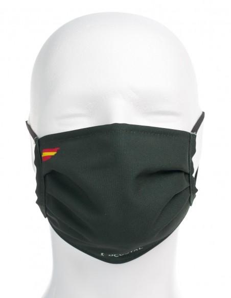 Mascarilla Higiénica Reutilizable Verde Oscuro Con Bandera España