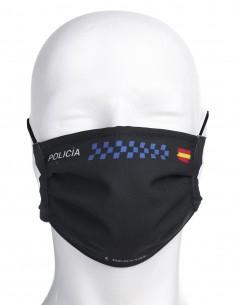 Mascarilla Higiénica Reutilizable de Policía Local Negra
