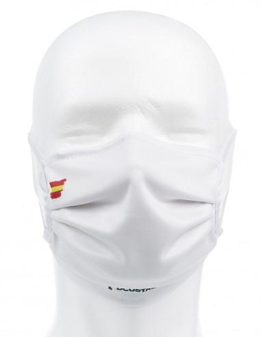 Mascarilla Higiénica Reutilizable Blanca Con Bandera España 72 Lavados