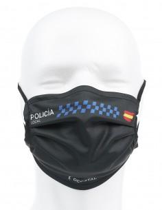 Mascarilla Higiénica Reutilizable Policía Local Negra 72 Lavados