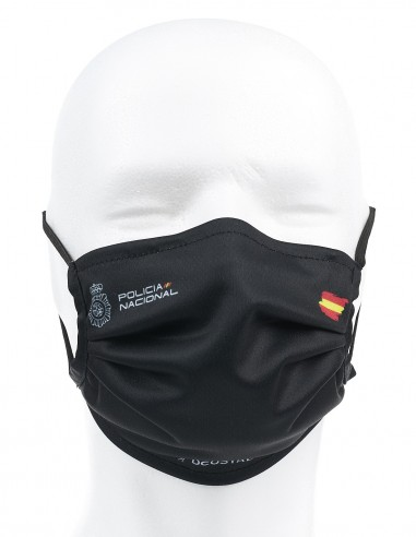 Mascarilla Higiénica Reutilizable Policía Nacional Negra 72 Lavados