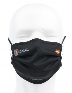 Mascarilla Higiénica Reutilizable Policía Nacional Negra UIP 72 Lavados