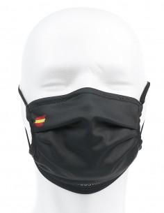 Mascarilla Higiénica Reutilizable Negra Con Bandera España 72 Lavados