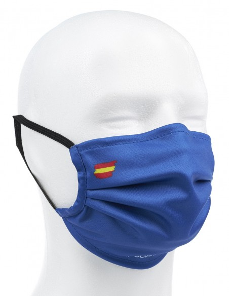 Mascarilla Higiénica Reutilizable Azul Oscuro Con Bandera España 72 Lavados