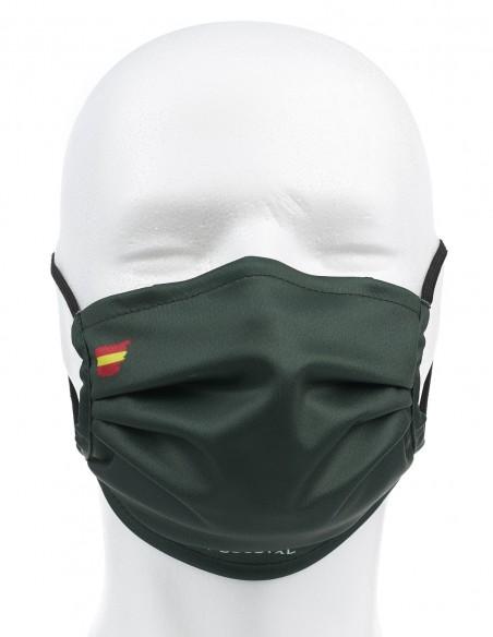 Mascarilla Higiénica Reutilizable Verde Oscuro Con Bandera España 72 Lavados
