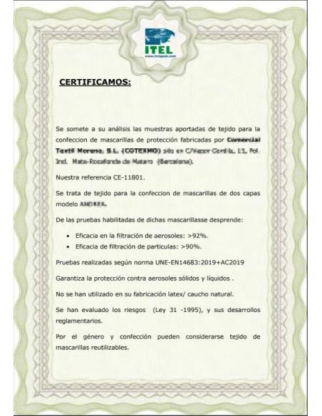 Certificado Tejido Mascarilla Higiénica Reutilizable