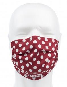 Mascarilla Higiénica Reutilizable Roja Lunares Blancos 72 Lavados