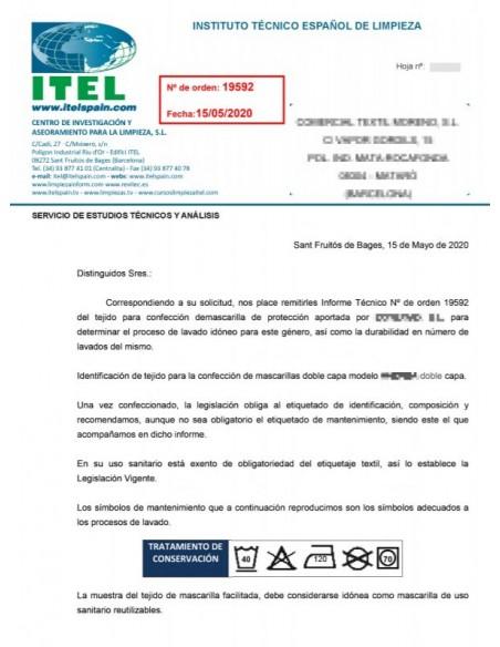 Ficha Certificado Tejido Mascarilla Higiénica Reutilizable