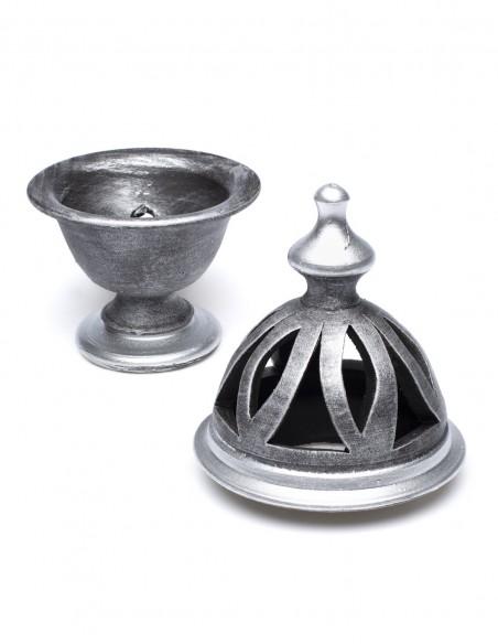 Incensario Cerámica Cáliz Metalizado Plata