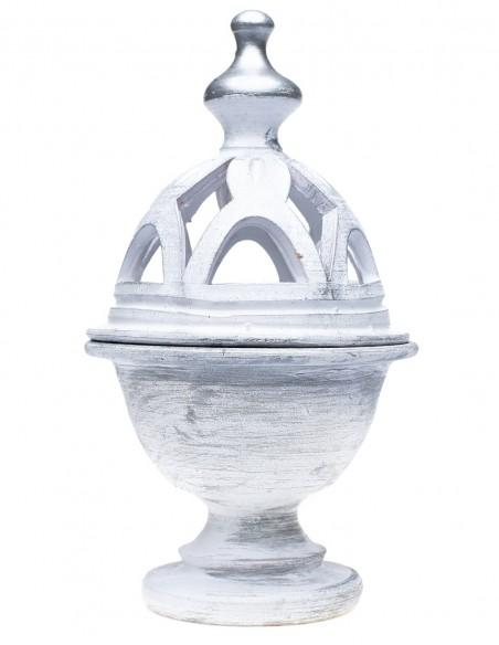Incensario Cerámica Cáliz Metalizado Blanco