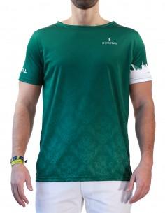 Camiseta Costalero Manga Corta Verde y Blanca Sky
