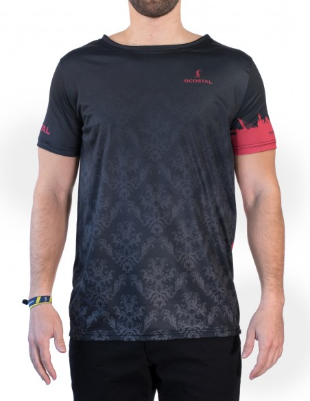 Camiseta Costalero Manga Corta Negra y Roja Sky